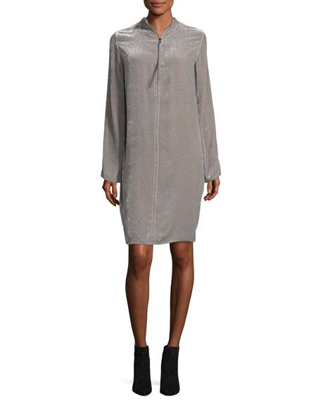 Velvet Zip-Front Tunic Dress