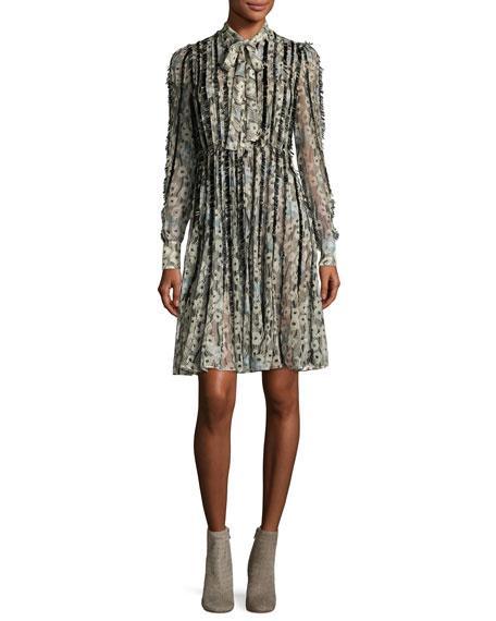 Valentino Floral Waves Fringe-Trim Silk Tie-Neck Shirtdress,
