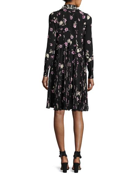 Floral-Print Silk Crepe de Chine Shirtdress, Black/Pink