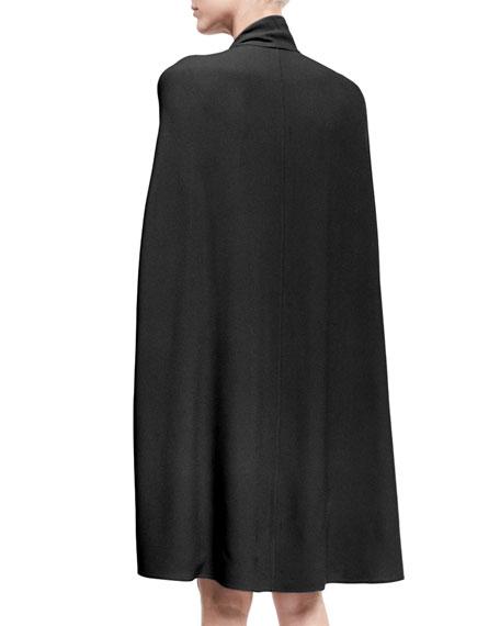 Cape-Sleeve Tie-Neck Dress