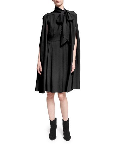 Valentino Cape-Sleeve Tie-Neck Dress