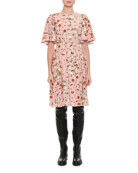 Valentino Floral-Print Flutter-Sleeve Dress, Pink Pattern