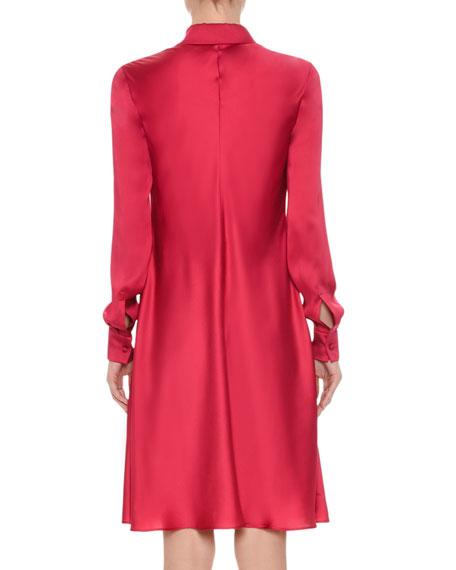 Silk Satin Tie-Neck Shirtdress, Pink