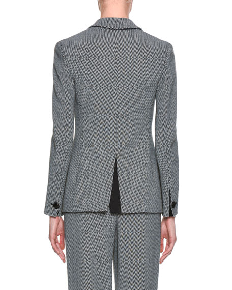 Herringbone One-Button Suiting Jacket, Gray
