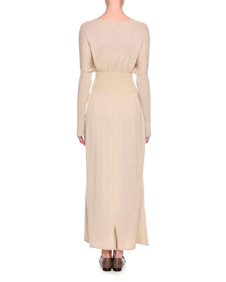Long-Sleeve Wool-Mohair Sweater Gown, Neutral