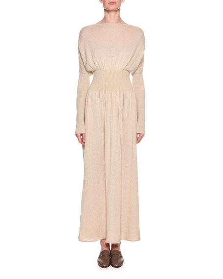Giorgio Armani Long-Sleeve Wool-Mohair Sweater Gown, Neutral
