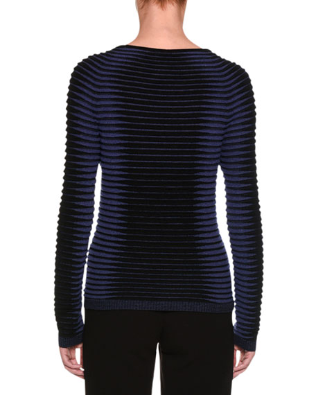 Intarsia Ribbed Sweater, Black/Blue
