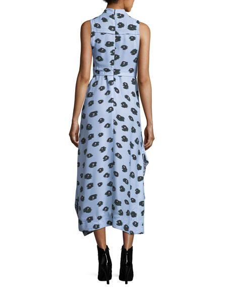 Poppy-Print Viscose Wrap-Front Midi Dress