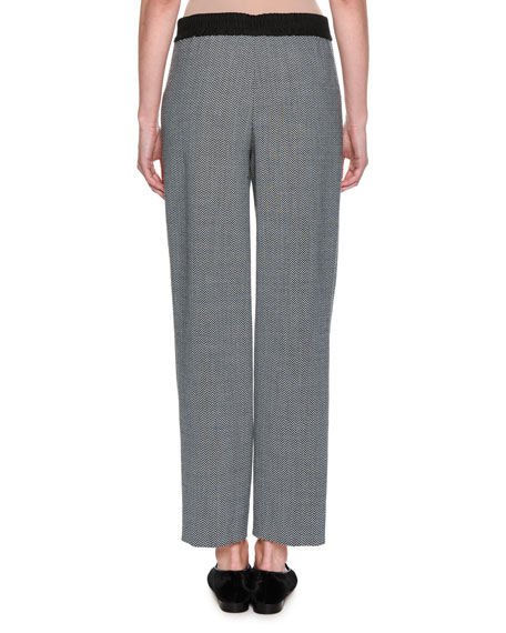Cropped Herringbone Straight-Leg Pants, Gray