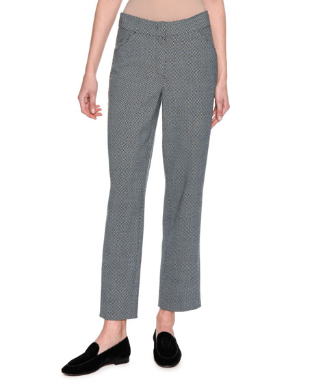 Giorgio Armani Cropped Herringbone Straight-Leg Pants, Gray and
