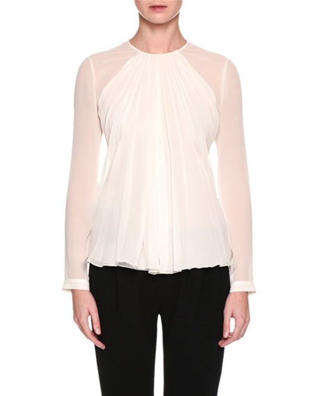 Giorgio Armani Long-Sleeve Gathered Silk Georgette Blouse, White