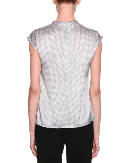 Graphic-Print Funnel-Neck Silk Blouse, Gray