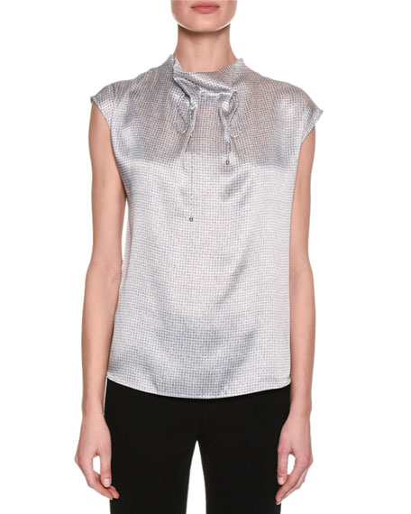 Giorgio Armani Graphic-Print Funnel-Neck Silk Blouse, Gray