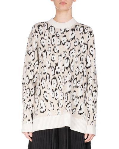 Oversized Leopard Jacquard Crewneck Sweater, Ecru
