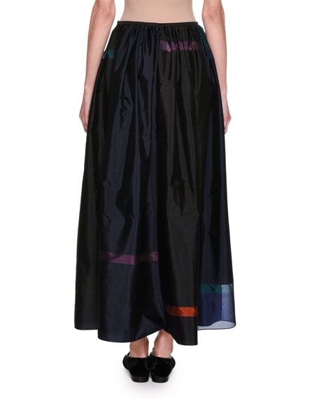 Taffeta Fil Coupé Maxi Skirt, Blue