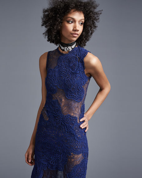 Dimensional Lace Sleeveless Gown, Navy