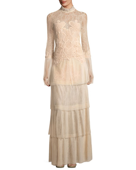 Long-Sleeve Tiered Dimensional Lace Gown