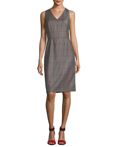 Plaid Wool V-Neck Sleeveless Dress