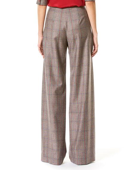 Plaid High-Rise Wide-Leg Pants, Multicolor