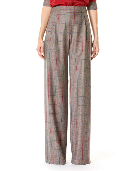 Carolina Herrera Plaid High-Rise Wide-Leg Pants, Multicolor
