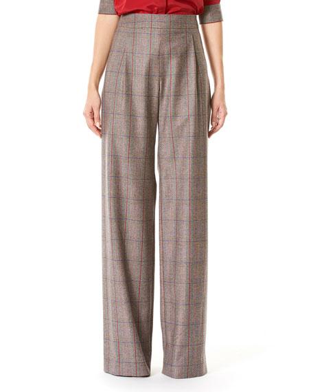 Carolina Herrera Plaid High-Rise Wide-Leg Pants, Multicolor and