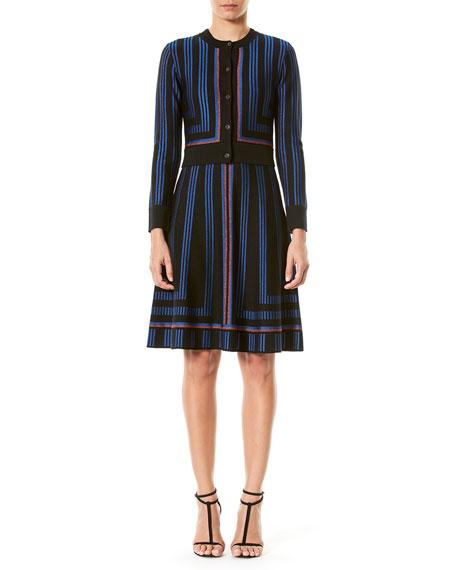 Geometric Metallic-Stripe Cropped Cardigan, Blue/Black