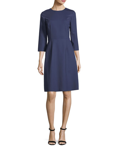 Wool Crepe A-Line Dress