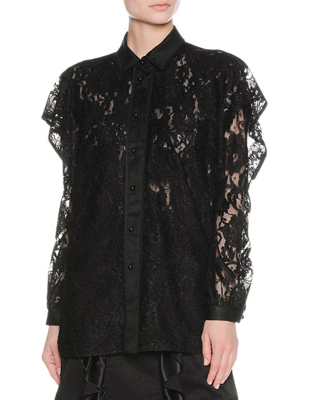 Layered Ruffle Lace Shirt, Black