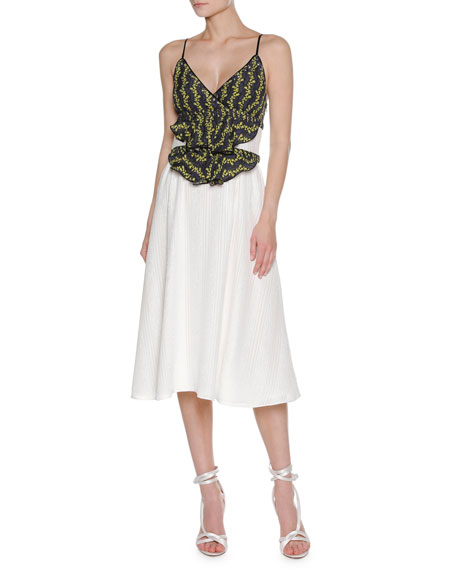 Francesco Scognamiglio Floral Vine Sleeveless Midi Dress, White