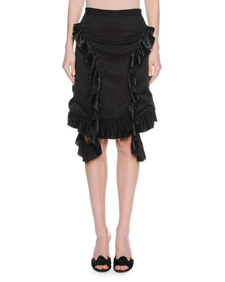 Francesco Scognamiglio Ruffle-Trim Viscose Skirt, Black and