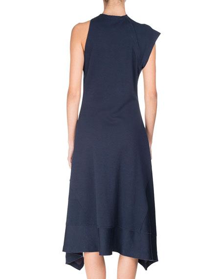 One-Shoulder Jersey Handkerchief-Hem Midi Dress, Navy