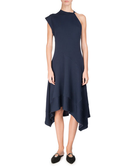 Proenza Schouler One-Shoulder Jersey Handkerchief-Hem Midi Dress,