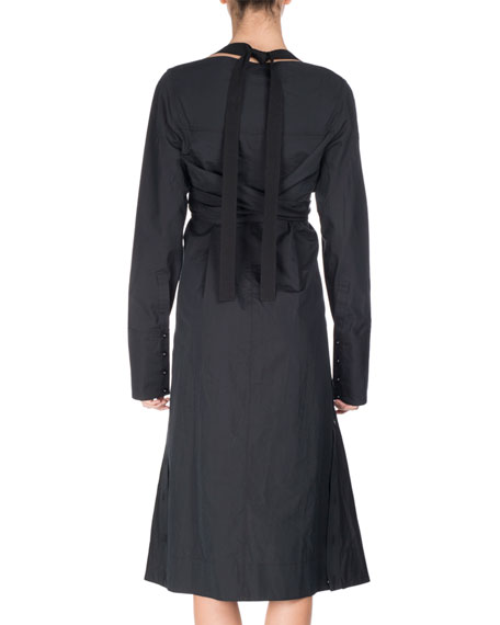 Long-Sleeve Faux-Wrap Harness Dress, Black