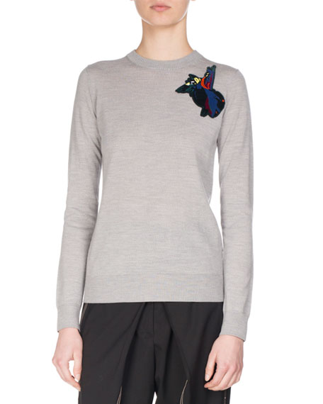 Proenza Schouler Embroidered-Patch Wool Sweater, Gray