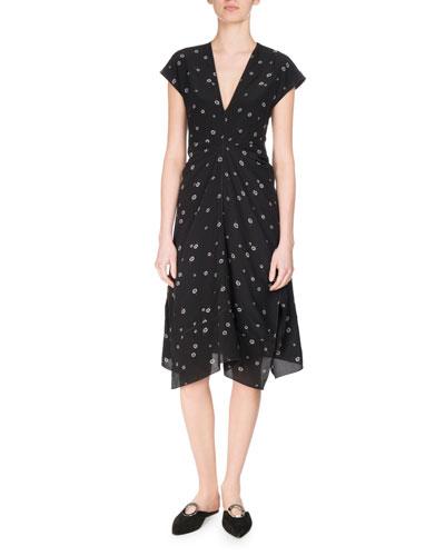 Rocket Sunflower Silk Cap-Sleeve Midi Dress, Multicolor