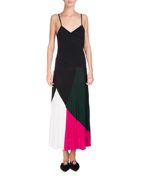 Proenza Schouler Colorblock Sunburst-Pleat Camisole Midi Dress,