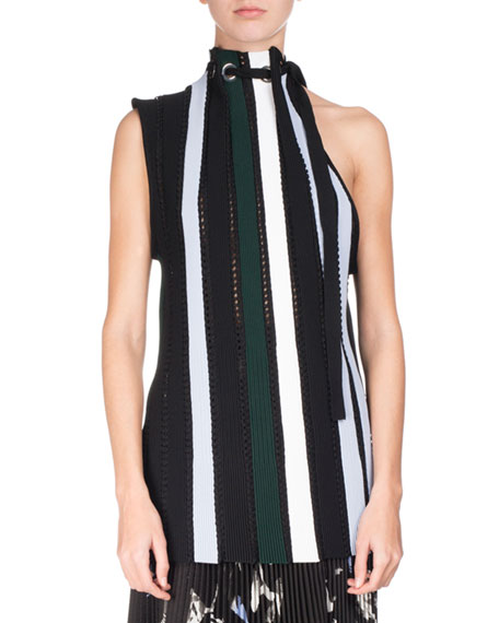 Striped Pointelle Sleeveless Tie-Neck Sweater, Multicolor