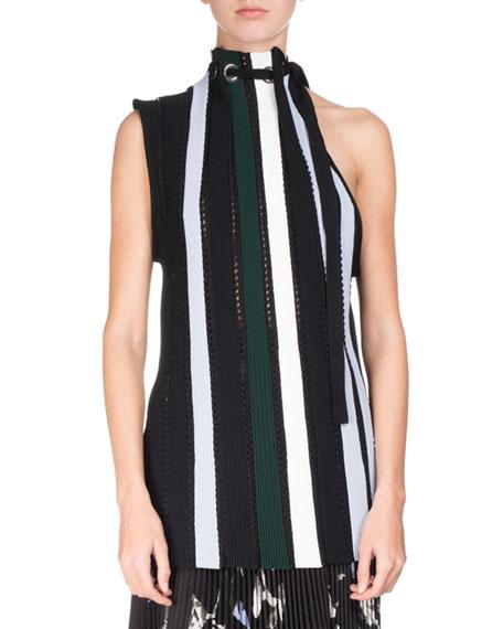 Proenza Schouler Striped Pointelle Sleeveless Tie-Neck Sweater,