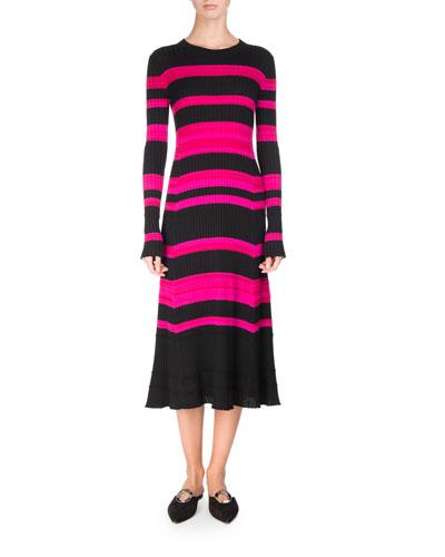 Striped Rib Knit Long-Sleeve Midi Dress, Multicolor