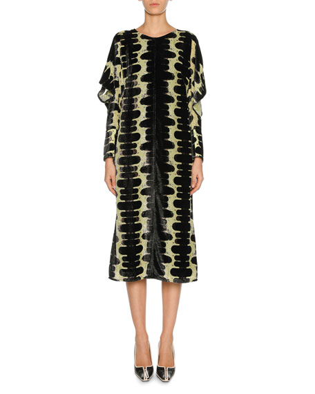 Marni Dévoré Velvet Midi Dress, Green