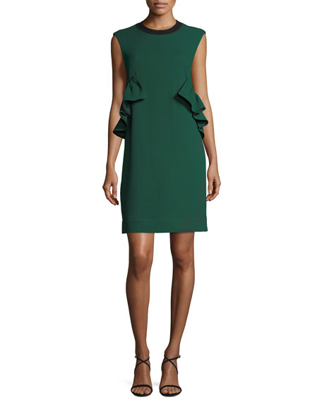 Two-Tone Ruffle-Side Knit Dress