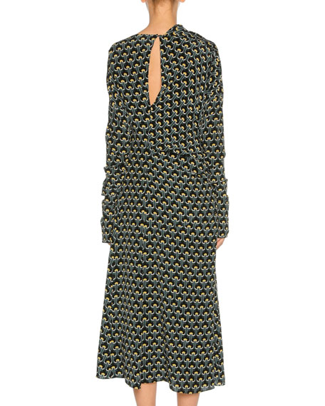 Limoges-Print Long-Sleeve Silk Midi Dress, Dark Yellow