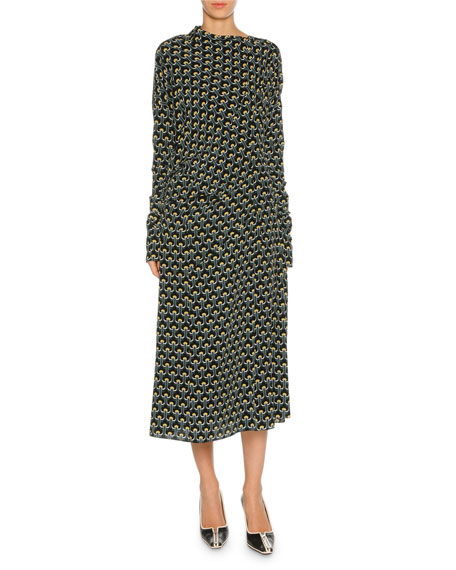 Marni Limoges-Print Long-Sleeve Silk Midi Dress, Dark Yellow
