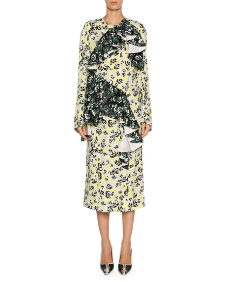 Marni Mixed Pansy-Print Long-Sleeve Ruffle Midi Dress,