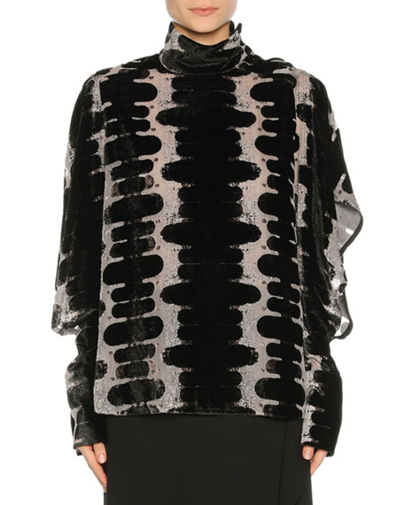 Marni D??vor?? Velvet High-Neck Blouse, black
