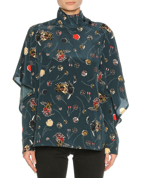 Marni Funnel-Neck Floral Silk Blouse, Blue Pattern