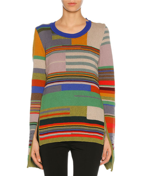 Marni Colorblock Intarsia Slit-Cuff Sweater, Multicolor