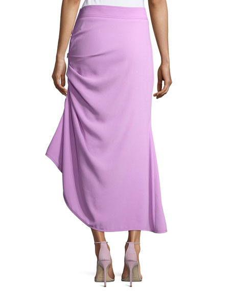 Ruched Button-Side Midi Skirt