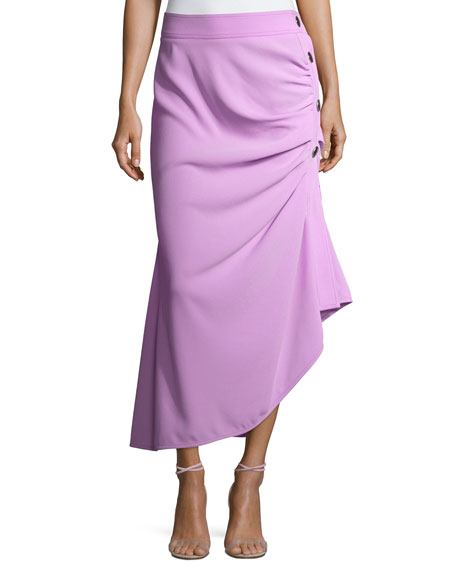 Marni Ruched Button-Side Midi Skirt