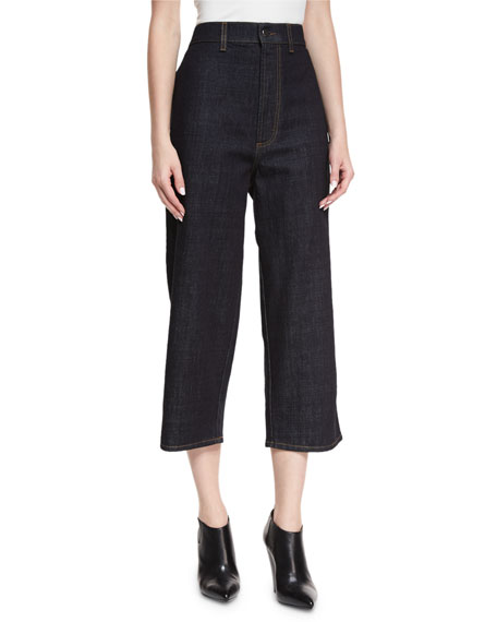 Marni High-Rise Cropped Wide-Leg Jeans